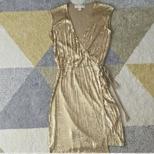 Michael Kors Gold Sequin Wrap Dress XXS
